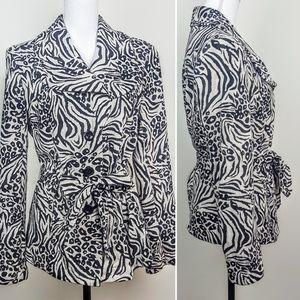 DRESSBARN Jacket, Black Zebra Button Down Career L